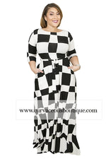 Checkered Board Gabby Maxi Dress