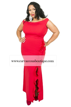 Red Nadia Ruffle Gown