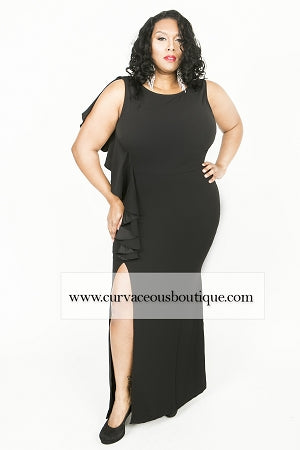 Black Amy Split Gown