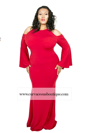 Red Tess Bell Sleeve Maxi Dress