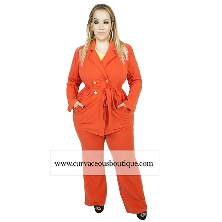 Orange Nicola Blazer Pant Set