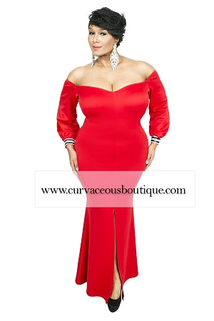 Red Simone Rhinestone Sleeve Gown