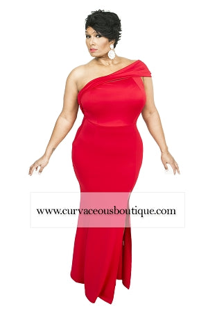 Red Farrah One Shoulder Dress