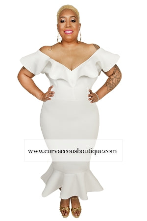 Ivory Allure Ruffle Dress