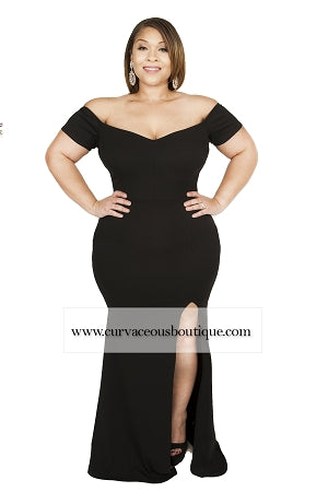 Black Ciara Split Gown