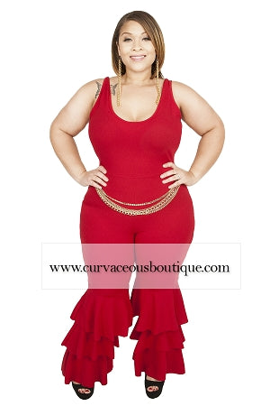 Red Rita Chain Belt Jumpsuit