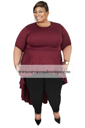 Extended Size  Burgundy Logan Hi -Lo Top