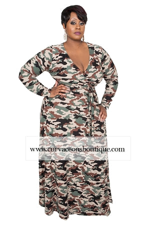 Camouflage Grace Wrap Maxi Dress