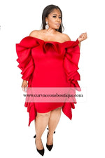 Red Giselle Ruffle Fold-over Dress/Skirt