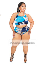 Blue Print Halter 2 Pc Swimwear
