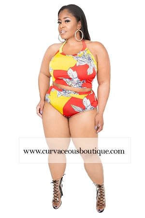 Yellow Print Halter 2Pc Swimwear