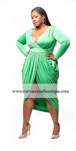 Green Plunging Goddess Dress