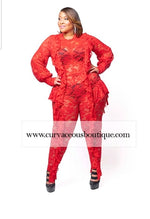 Red Harli Lace Ruffle Catsuit