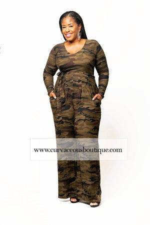 Dark Camouflage Sherry Belt Jumpsuit