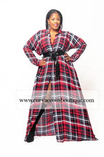 Red Plaid A-Line Dress/Duster
