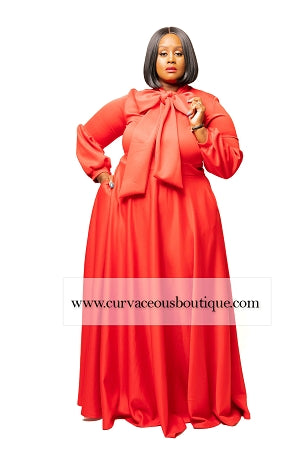 Red Cleo Bow Tie Maxi Dress