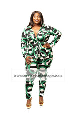 Green & Black Rico Legging Set
