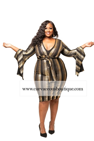 Gia Gold Flutter Sleeve Dress