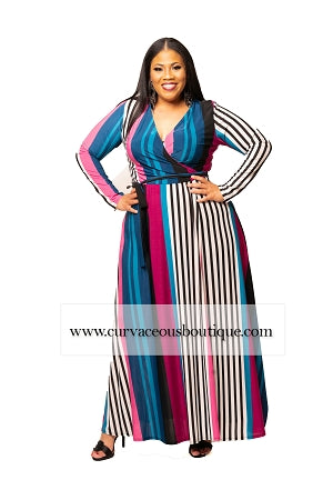 Blue Stripe Grace Wrap Maxi Dress