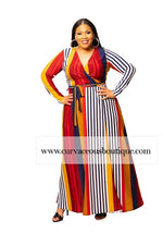 Red Stripe Grace Wrap Maxi Dress