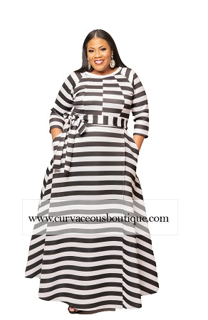 Stripe Emily Belt Gown