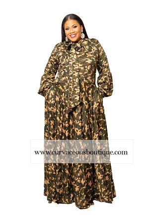 Camouflage Cleo Bow Tie Maxi Dress