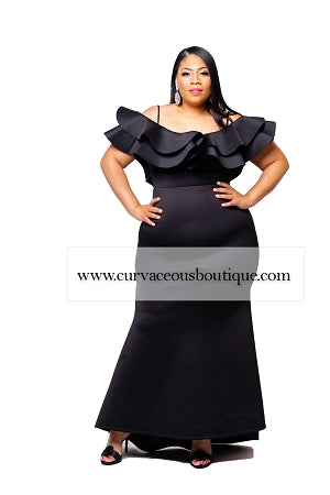 Black Kim Ruffle Gown