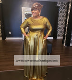 Dark Gold Metallic Gabby Maxi Dress