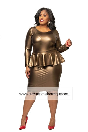 Gold Peppi Peplum Dress