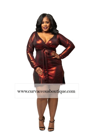 Red Yanna Metallic Body-Con Dress