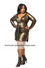 Gold Yanna  Metallic  Body-Con Dress