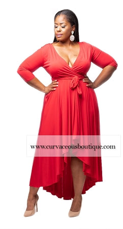Red Sofie Hi Lo Dress