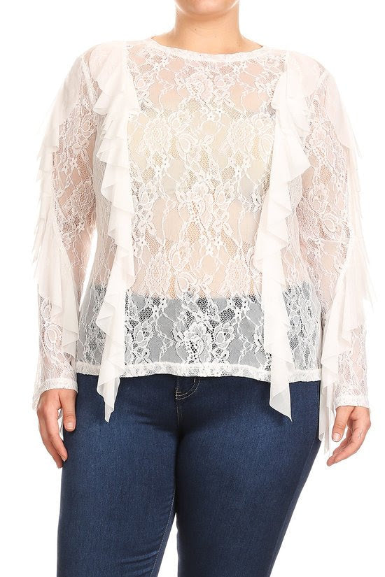 Ivory Lace Ruffle Trim Top