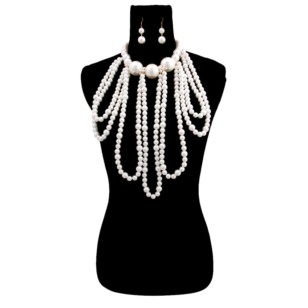 White Pearl Long Draping Necklace Set