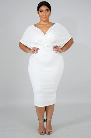 Ivory Dutchess Pearl Embellished Dress