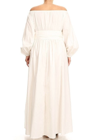 Off White Zoie Off Shoulder Maxi Dress