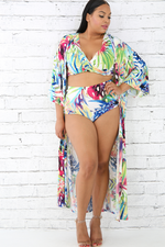Tropical Print Robe Swim Set