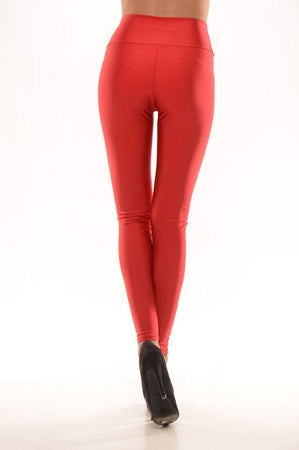 Red Disco Zipper Leggings