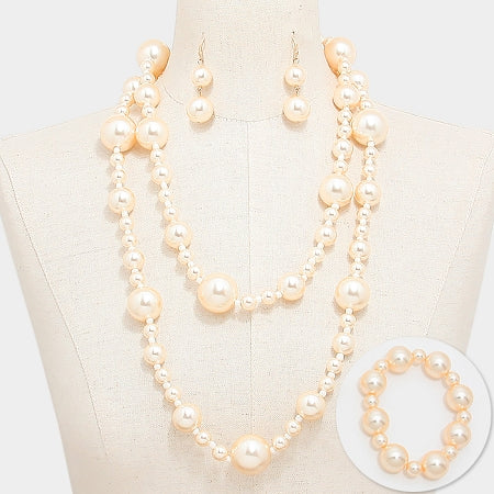 Chunky Ball Pearl Long Necklace Set