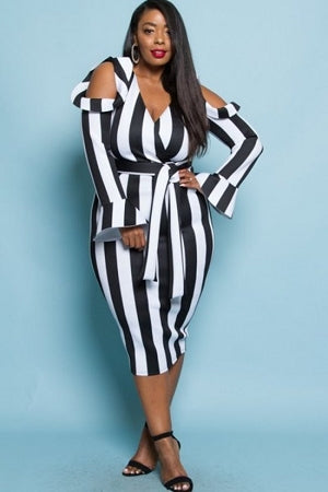 Lauren Stripe Cold Shoulder Dress