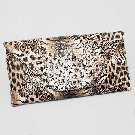 Envelope Leopard Clutch