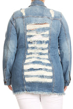 Light Blue Shredded Back Denim Jacket