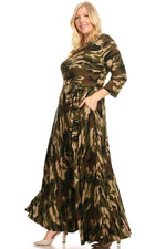 Extended Size Light Camouflage Gabby Maxi Dress