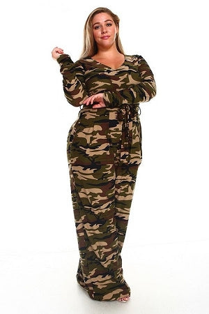 Light Camouflage Sherry Belt Jumpsuit