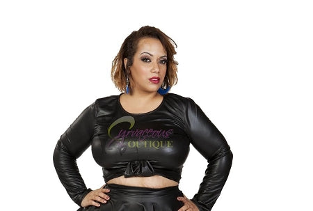 Black Knot Faux Leather Crop Top