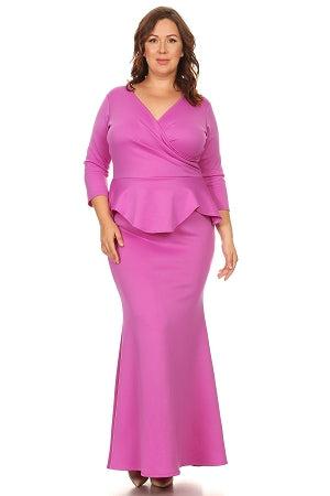 Fuchsia  Madelyn Peplum Maxi Dress