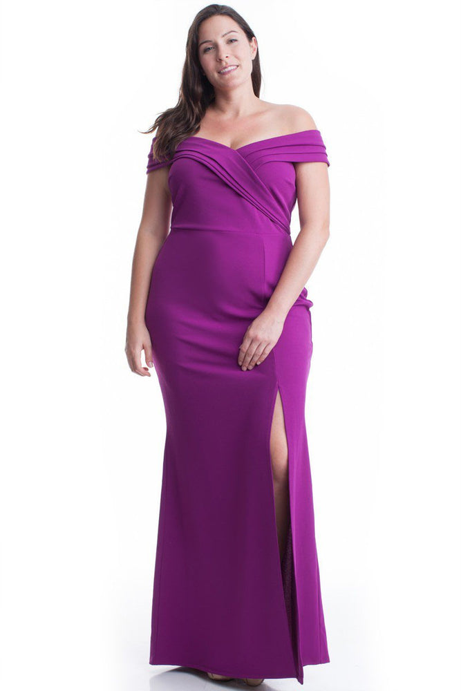 Magenta Rhonda Off Shoulder Gown