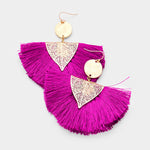 Magenta Tassel Hook Earrings