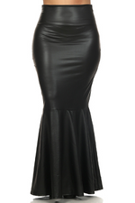 Black Sexi Faux Leather Mermaid  Skirt