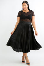 Black Metallic Pleated Skirt
